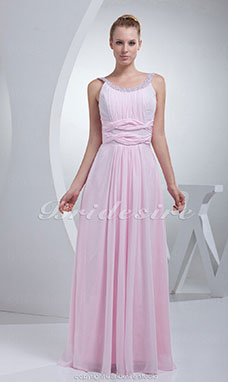 Sheath/Column Scoop Floor-length Sleeveless Chiffon Sequined Dress