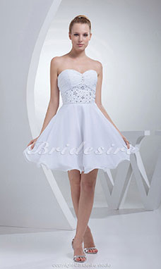 Princess Sweetheart Short/Mini Sleeveless Satin Chiffon Dress