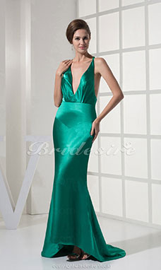 Trumpet/Mermaid V-neck Sweep/Brush Train Sleeveless Stretch Satin Dress