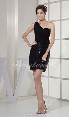 Sheath/Column One Shoulder Short/Mini Sleeveless Chiffon Sequined Lace Dress