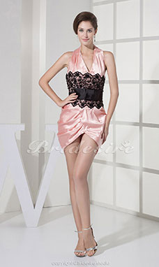 Sheath/Column Halter Short/Mini Sleeveless Stretch Satin Lace Dress