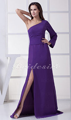 A-line One Shoulder Sweep/Brush Train Long Sleeve Chiffon Dress