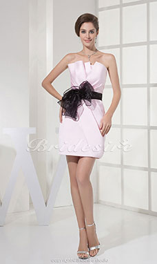 Sheath/Column Strapless Short/Mini Sleeveless Satin Organza Bridesmaid Dress