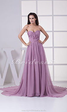 A-line Sweetheart Chapel Train Sleeveless Chiffon Dress
