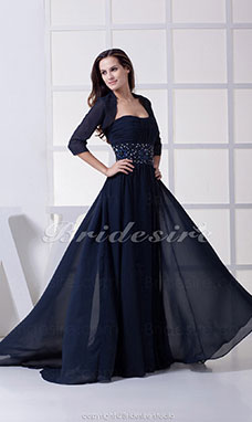 A-line Strapless Sweep/Brush Train 3/4 Length Sleeve Chiffon Dress