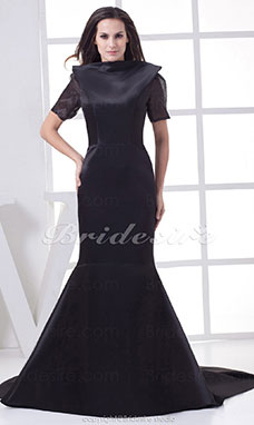 Trumpet/Mermaid High Neck Court Train Short Sleeve Organza Satin Dress
