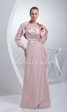 Sheath/Column Straps Floor-length 3/4 Length Sleeve Stretch Satin Dress