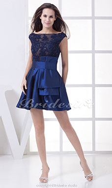 A-line Scoop Short/Mini Sleeveless Taffeta Tulle Dress