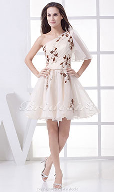 A-line One Shoulder Short/Mini Half Sleeve Organza Dress