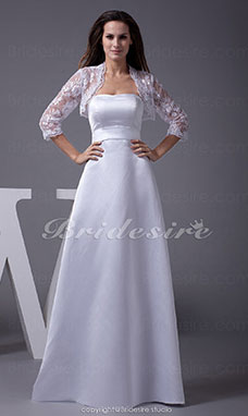 A-line Strapless Floor-length 3/4 Length Sleeve Lace Satin Wedding Dress