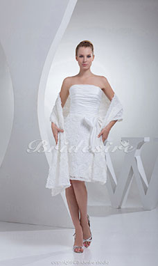 Sheath/Column Strapless Knee-length Sleeveless Taffeta Lace Dress