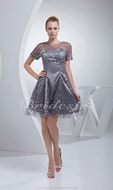 A-line Scoop Short/Mini Short Sleeve Stretch Satin Tulle Dress