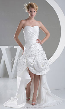 A-line Strapless Sweep/Brush Train Sleeveless Satin Wedding Dress