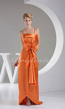 Sheath/Column Spaghetti Straps Sweep/Brush Train Sleeveless Stretch Satin Dress