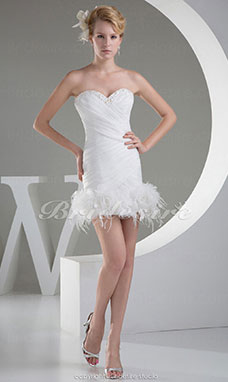 Sheath/Column Sweetheart Short/Mini Sleeveless Organza Dress