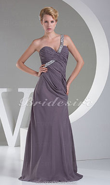 Sheath/Column One Shoulder Sweep/Brush Train Sleeveless Chiffon Dress
