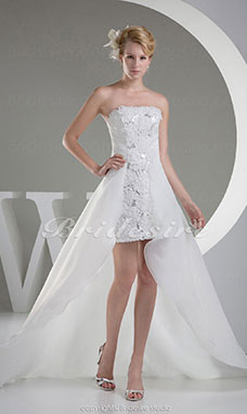 A-line Strapless Asymmetrical Sleeveless Organza Wedding Dress
