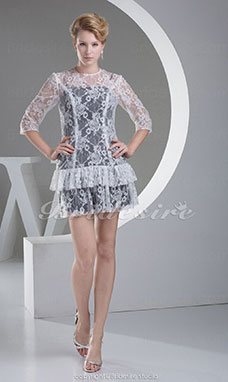 Sheath/Column Scoop Short/Mini 3/4 Length Sleeve Lace Satin Dress