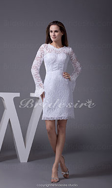 Sheath/Column Scoop Short/Mini Long Sleeve Lace Satin Dress
