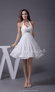 A-line Halter Short/Mini Sleeveless Chiffon Dress