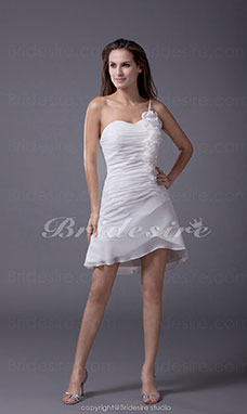Sheath/Column One Shoulder Short/Mini Sleeveless Chiffon Dress