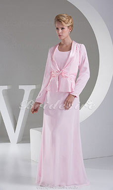 Sheath/Column Scoop Floor-length Long Sleeve Chiffon Stretch Satin Dress