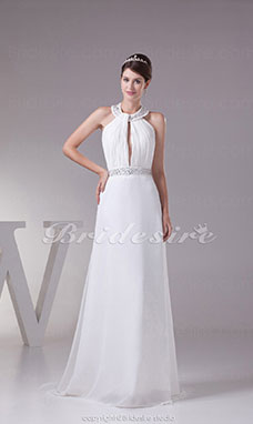 A-line Halter Court Train Sleeveless Chiffon Wedding Dress