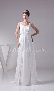 A-line Straps Chapel Train Sleeveless Chiffon Lace Wedding Dress