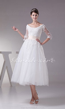 Princess Scoop Tea-length 3/4 Length Sleeve Tulle Satin Wedding Dress
