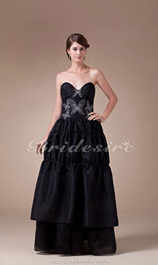 Princess Sweetheart Floor-length Sleeveless Organza Stretch Satin Dress