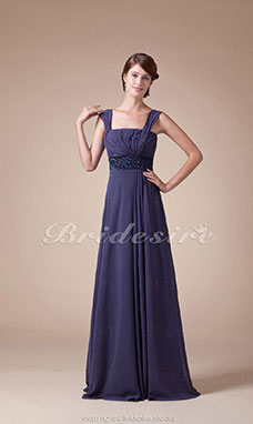 A-line Straps Floor-length Sleeveless Chiffon Mother of the Bride Dress