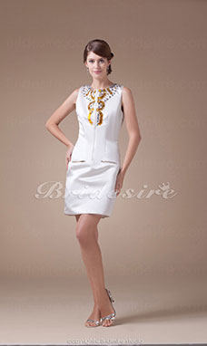 Sheath/Column Jewel Short/Mini Sleeveless Satin Dress