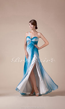 A-line One Shoulder Floor-length Sleeveless Satin Dress
