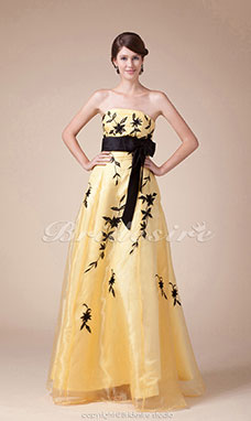 A-line Strapless Floor-length Sleeveless Satin Dress