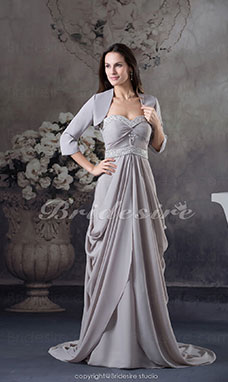 Sheath/Column Sweetheart Floor-length Sweep/Brush Train 3/4 Length Sleeve Chiffon Dress
