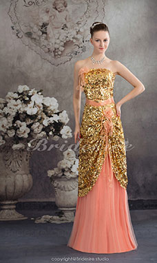 Sheath/Column Strapless Floor-length Sleeveless Sequined Dress