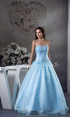 Princess Sweetheart Floor-length Sleeveless Satin Dress