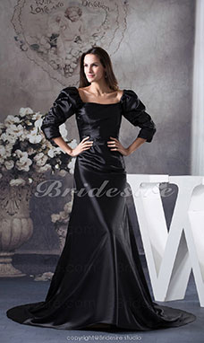 Trumpet/Mermaid Square Floor-length Long Sleeve Satin Dress