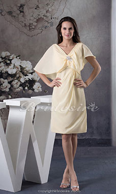 Sheath/Column V-neck Knee-length Short Sleeve Chiffon Dress