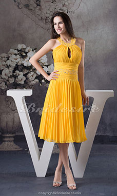 A-line Halter Tea-length Sleeveless Chiffon Dress