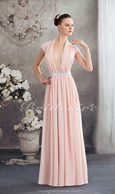 Sheath/Column V-neck Floor-length Short Sleeve Chiffon Dress