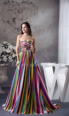 A-line Sweetheart Floor-length Sweep/Brush Train Sleeveless Satin Dress
