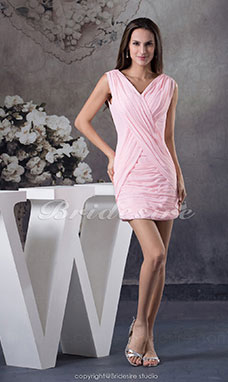 Sheath/Column V-neck Short/Mini Sleeveless Chiffon Dress
