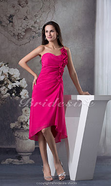 Sheath/Column One Shoulder Knee-length Sleeveless Satin Dress