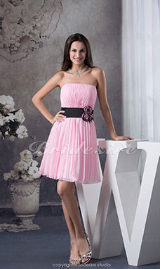 A-line Strapless Knee-length Sleeveless Chiffon Bridesmaid Dress