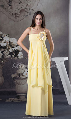Sheath/Column Spaghetti Straps Floor-length Sleeveless Chiffon Bridesmaid Dress