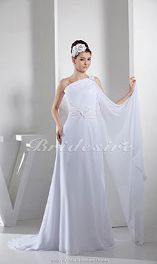 A-line One Shoulder Floor-length Sweep/Brush Train Sleeveless Chiffon Wedding Dress