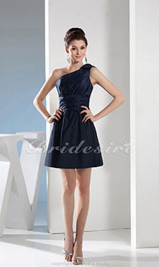 A-line One Shoulder Knee-length Sleeveless Satin Dress