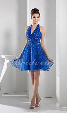 A-line Halter Knee-length Sleeveless Organza Dress