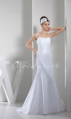 Trumpet/Mermaid Spaghetti Straps Floor-length Sleeveless Satin Wedding Dress